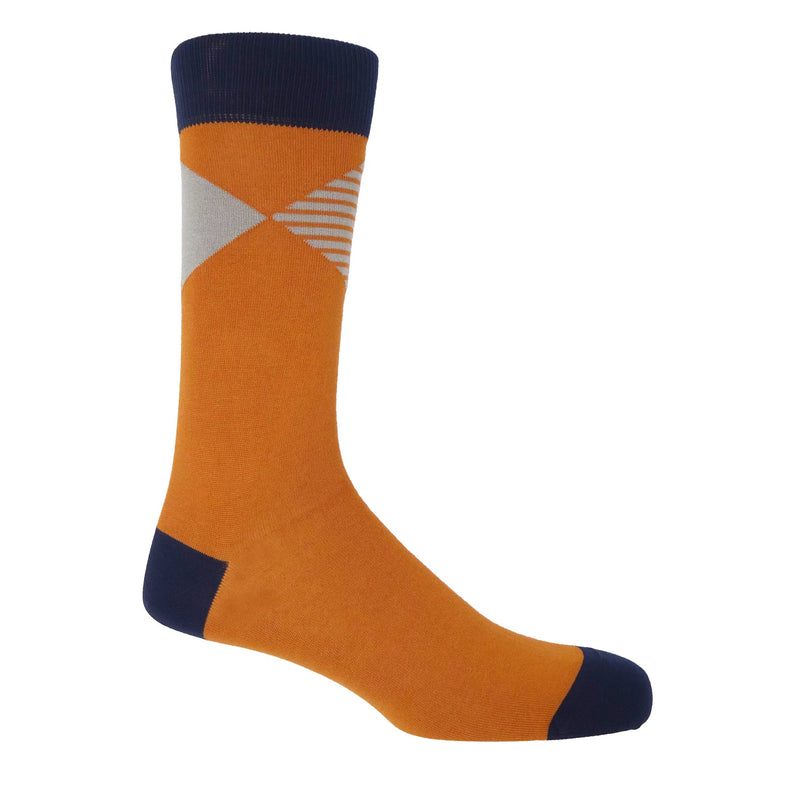 Peper Harow orange Big Diamond luxury men's socks featuring a solid and striped diamonds coalescing at their points