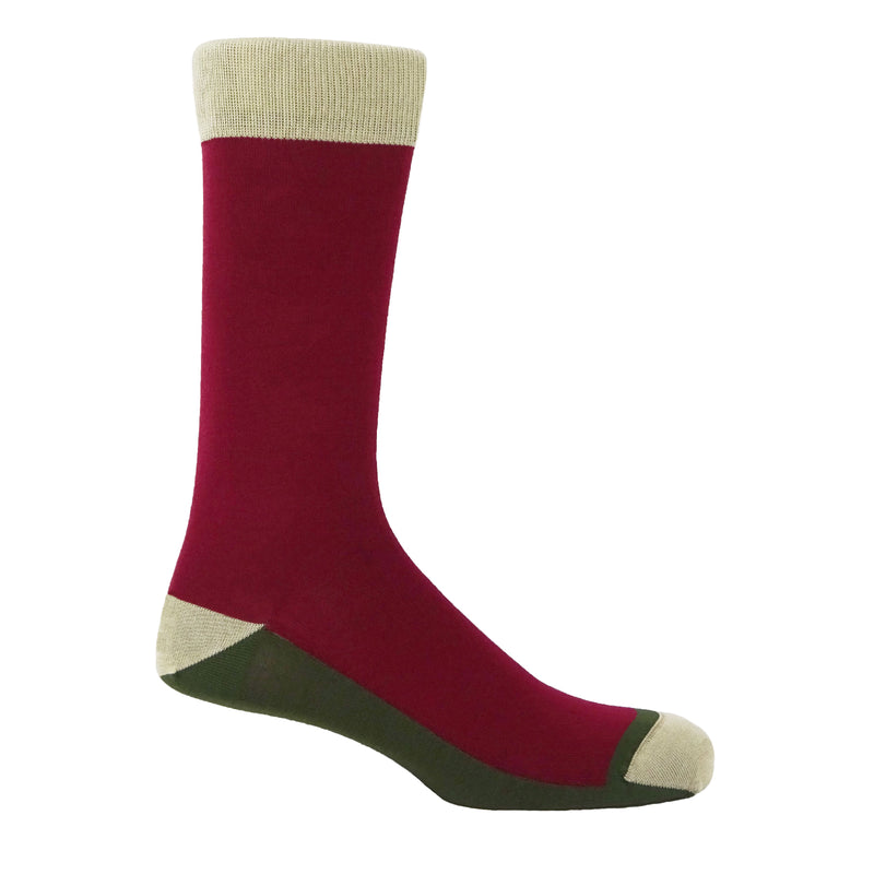 Peper Harow burgundy Burgess men's luxury socks