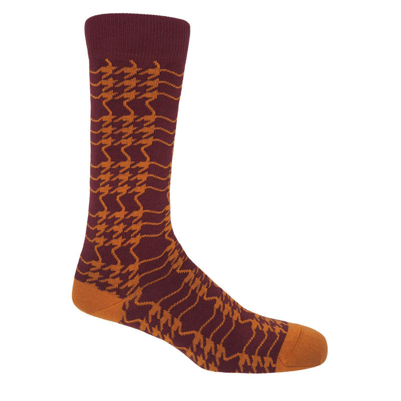 Peper Harow garnet houndstooth men's luxury socks