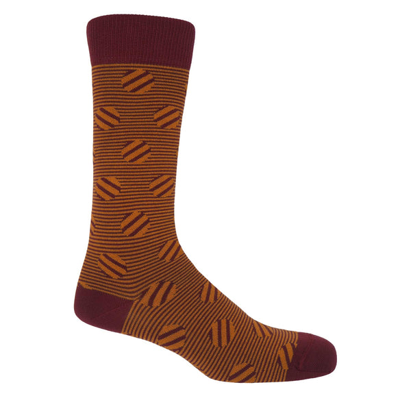 Peper Harow garnet Polka Stripe men's luxury socks