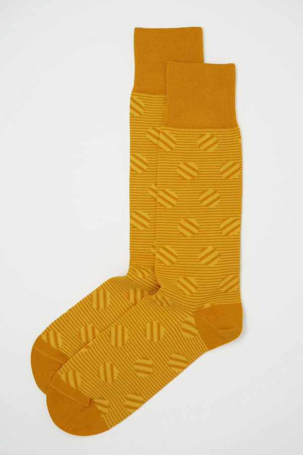 Peper Harow butterscotch Polka Stripe men's socks top shot