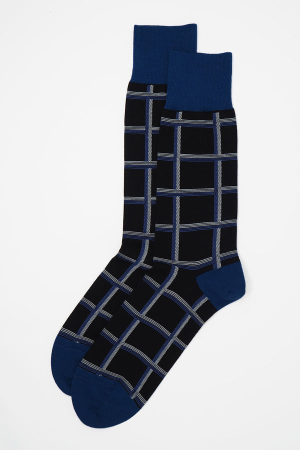 Check Men's Socks - Black