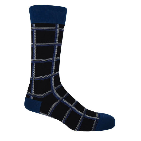 Peper Harow black Check luxury egyptian cotton socks for men