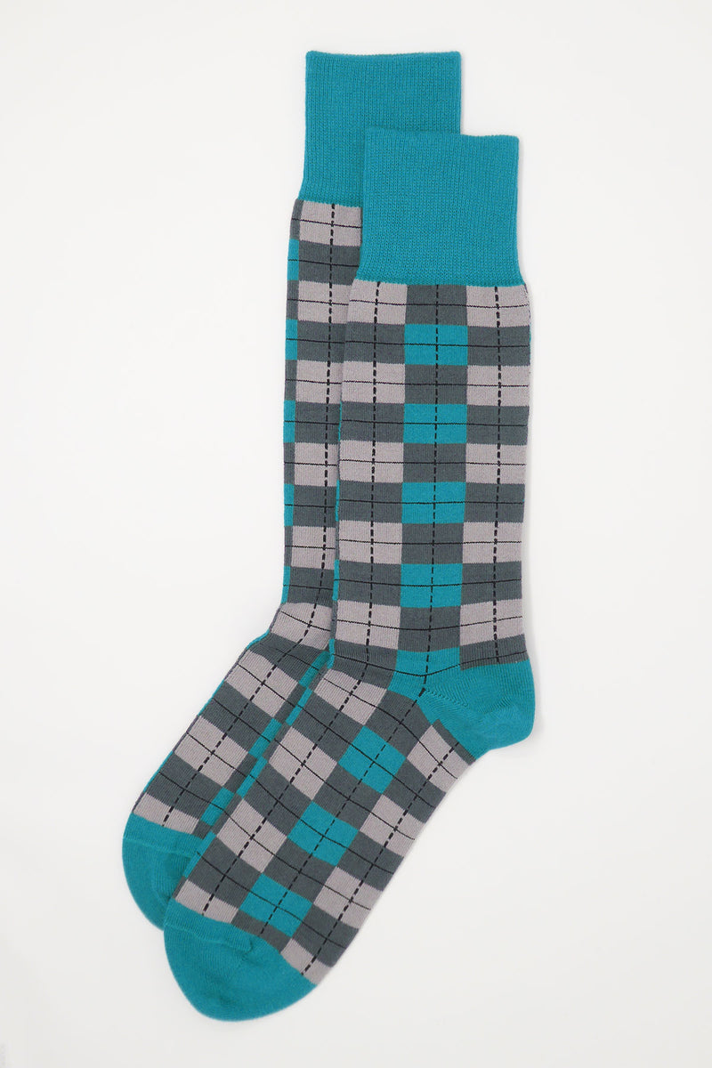 Two pairs of Peper Harow grey checkmate mens luxury socks from the top