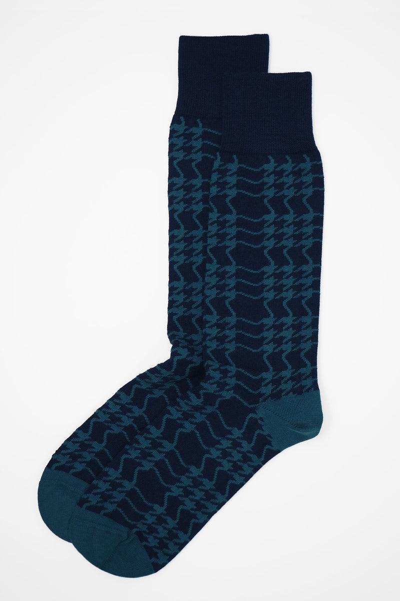 Houndstooth Men's Socks - Navy