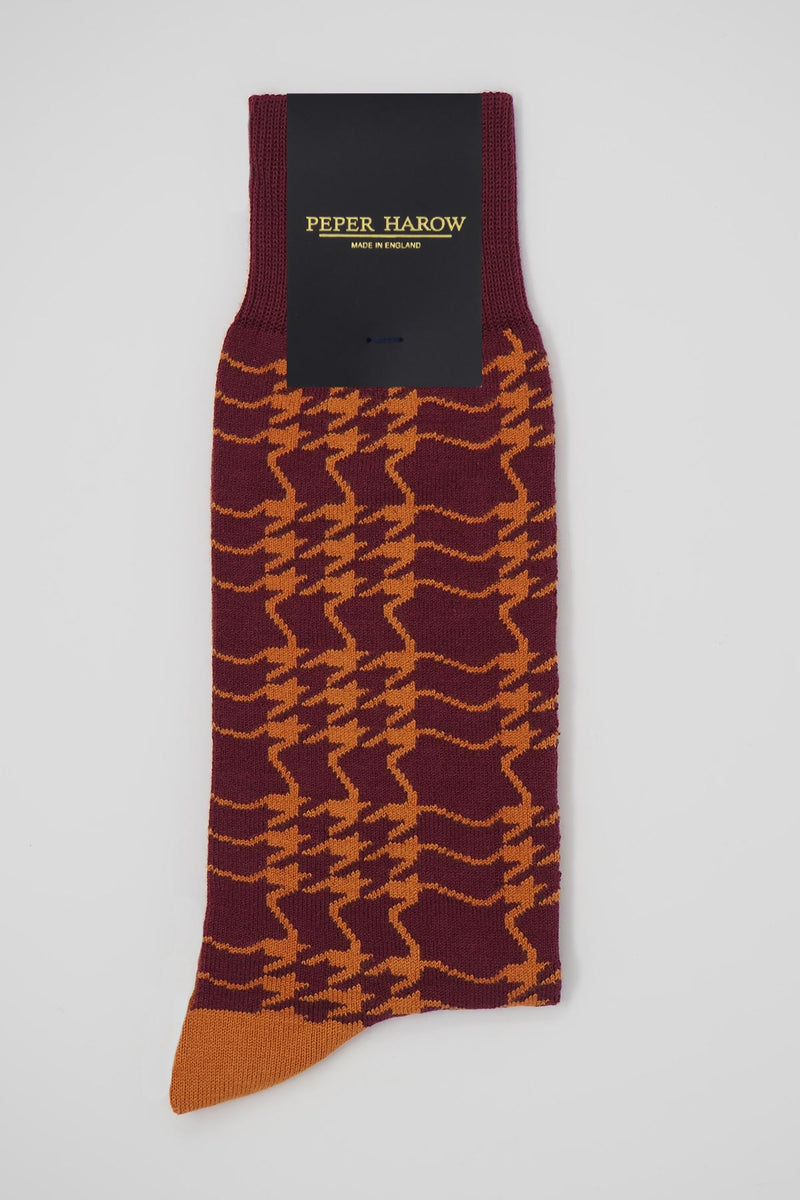 Peper Harow Garnet houndstooth men's luxury socks in packaging