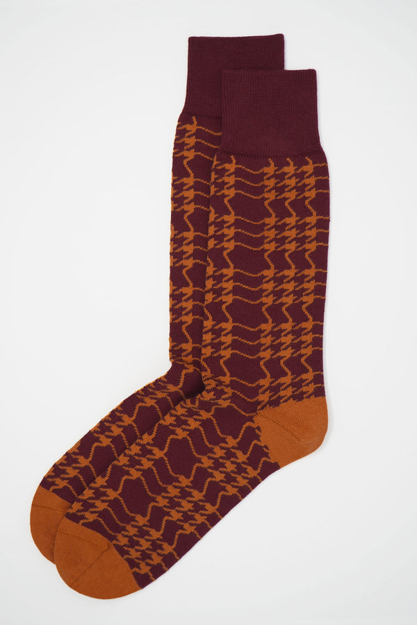 Houndstooth Men's Socks - Garnet