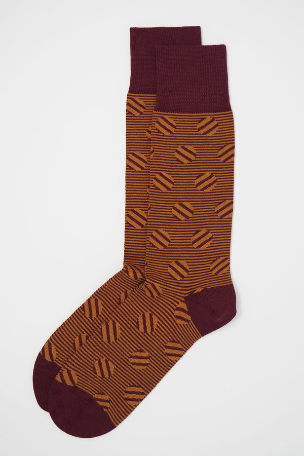 Polka Stripe Men's Socks - Garnet