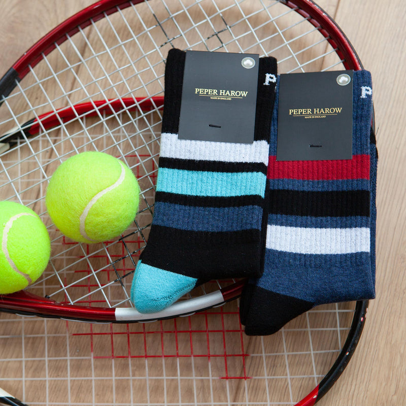 Peper Harow black and navy Striped Sport Socks