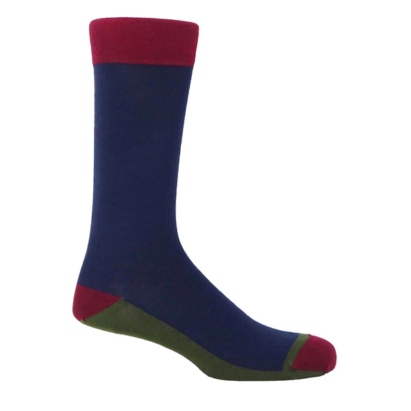 Peper Harow navy Burgess men's luxury socks
