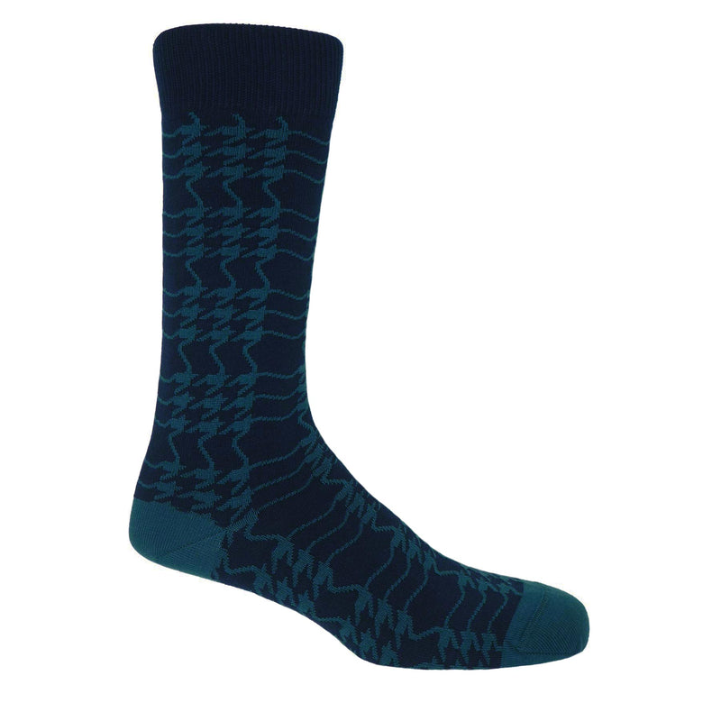 Peper Harow Navy Houndstooth luxury men's socks