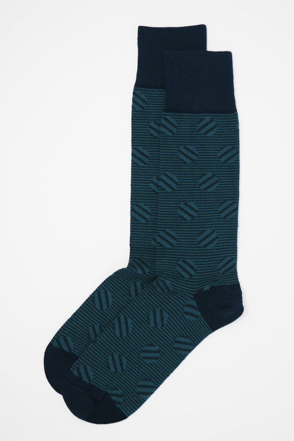 Polka Stripe Men's Socks - Navy