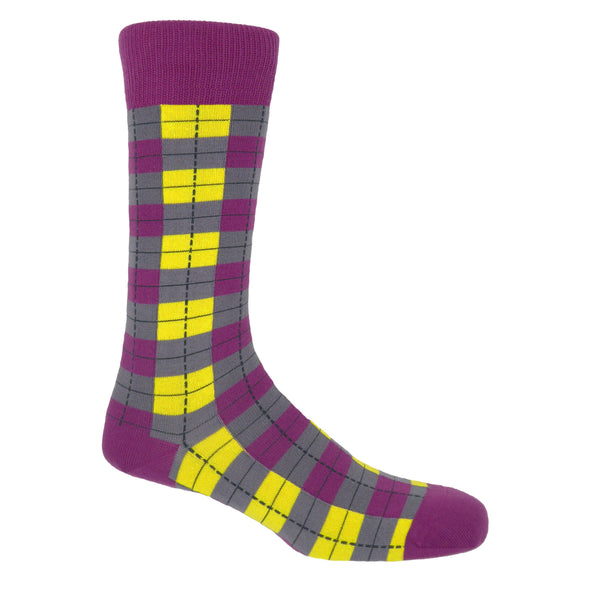 Peper Harow neon checkmate men's luxury socks