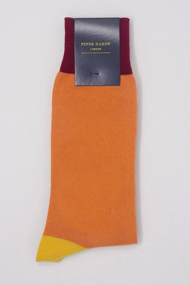 Peper Harow orange Burgess men's Luxury Socks in packaging