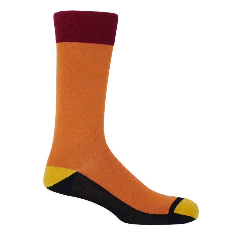 Peper Harow orange Burgess luxury men's socks