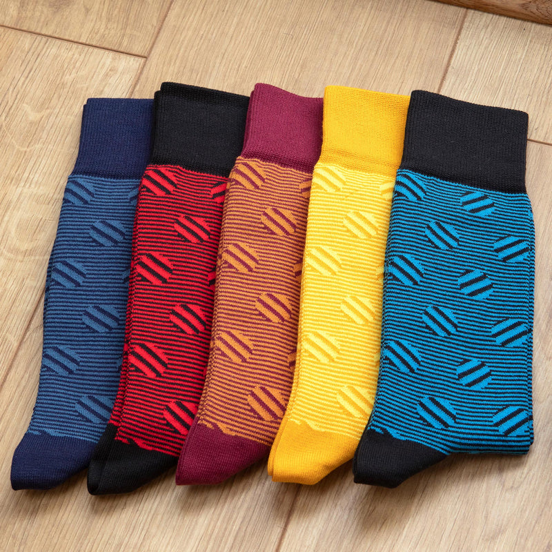 Entire collection of Peper Harow Polka Stripe men's luxury socks