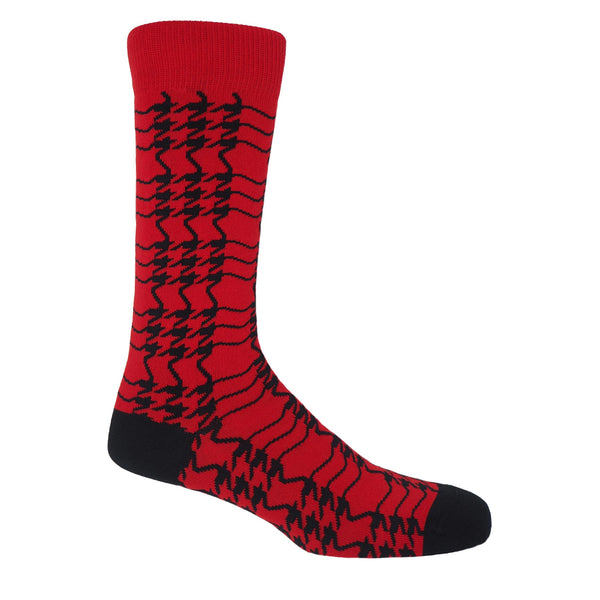 Peper Harow cherry red Houndstooth men's luxury socks