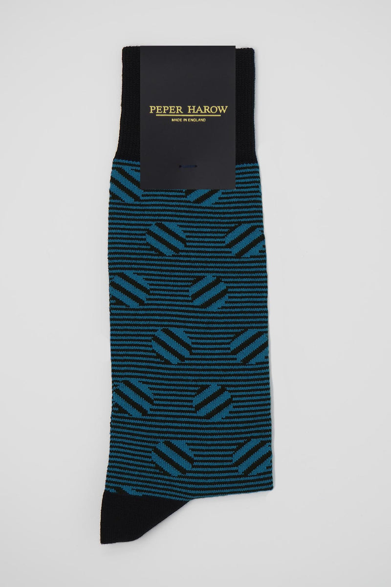 Peper Harow sable black men's luxury socks in packaging