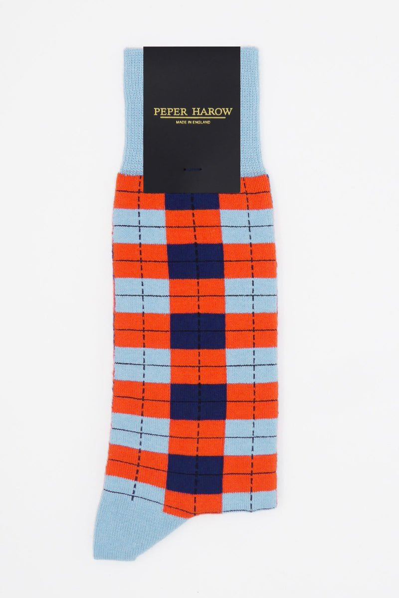 Peper Harow sky Checkmate men's luxury socks in packaging