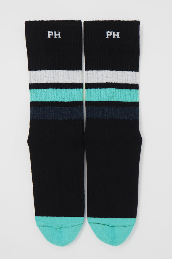 Peper Harow black men's striped sport socks