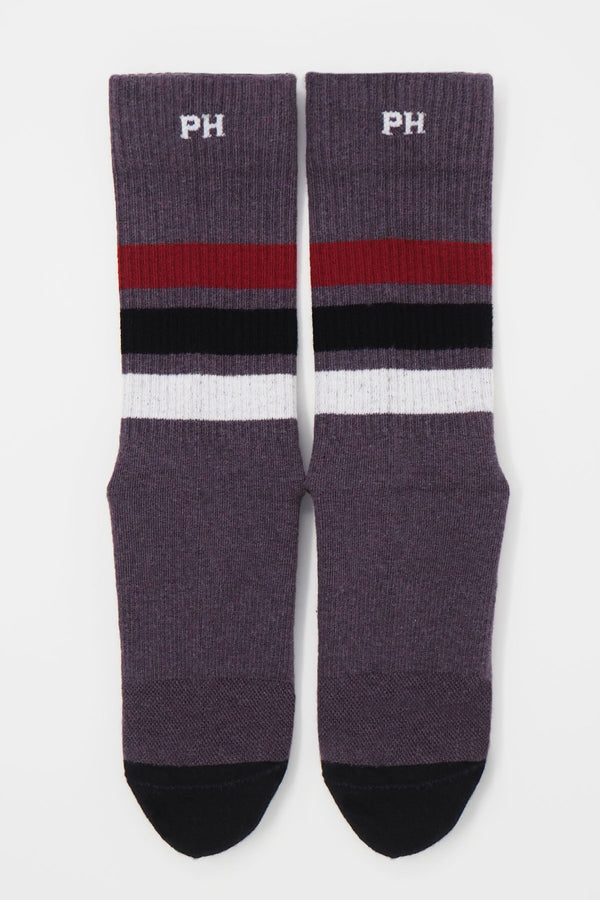Peper Harow mauve men's striped sport socks