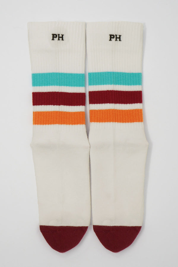 Peper Harow white women's striped sport socks