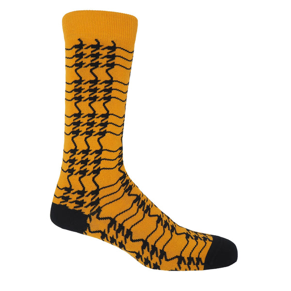 Peper Harow butterscotch yellow Houndstooth men's luxury socks