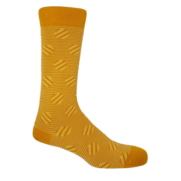 Peper Harow Butterscotch Polka Stripe men's luxury socks