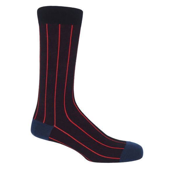 Peper Harow Black Pin Stripe Men's luxury Socks with thin bright red stripes and a navy heel and toe