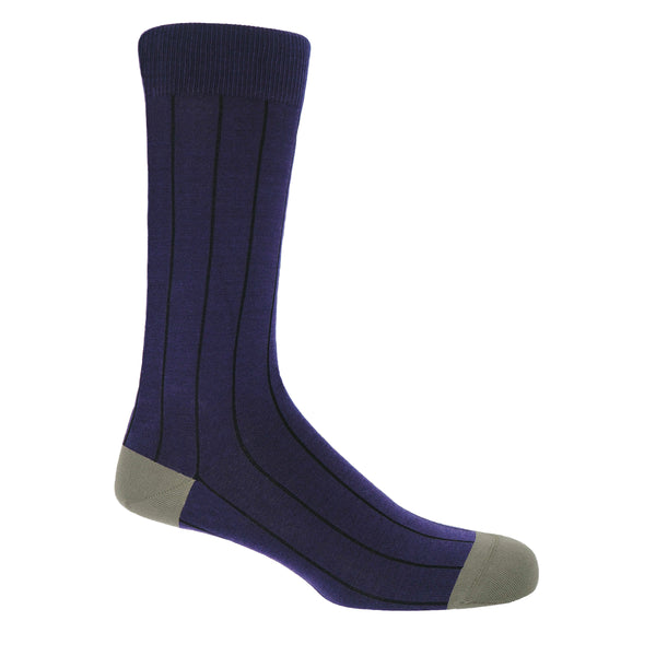 Peper Harow men's purple Pin Stripe luxury Socks with black stripes and grey heel and toe