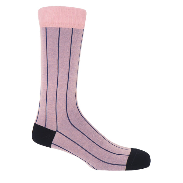 Peper Harow pink pin stripe luxury men's socks with midnight blue stripes and black heel and toe