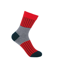 Peper Harow Scarlet Oxford Stripe women's luxury socks