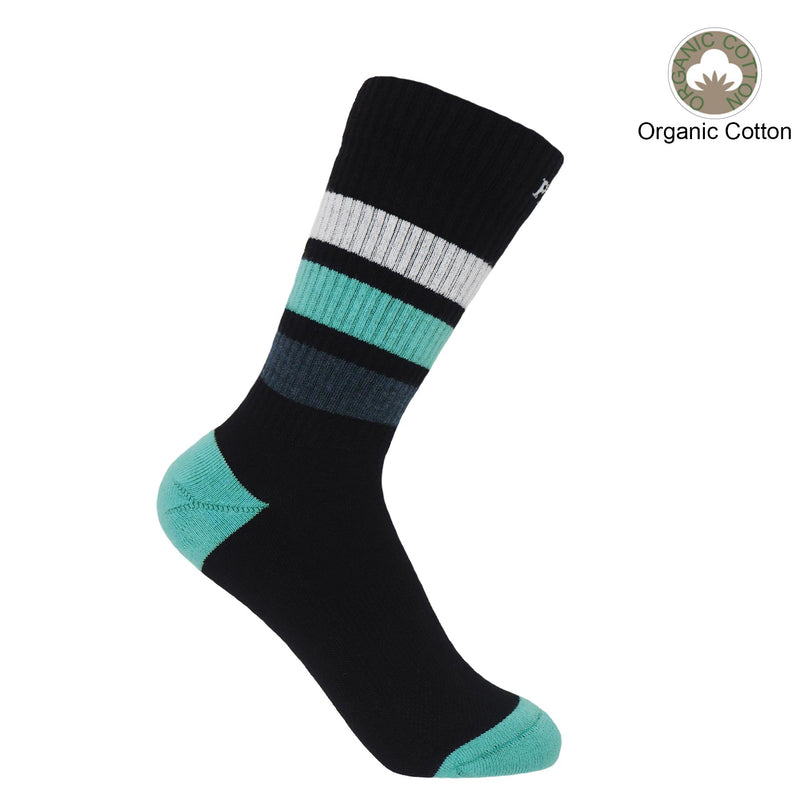 Peper Harow black Striped Sport luxury organic cotton women's socks