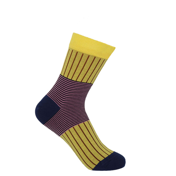 Peper Harow Yellow Oxford Stripe women's luxury socks