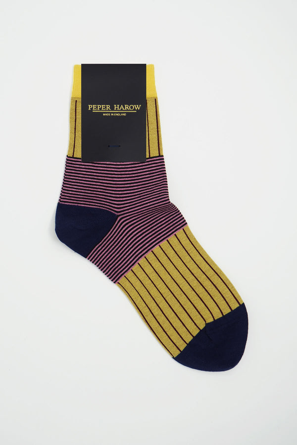 Peper Harow mustard Oxford Stripe women's luxury socks in packaging