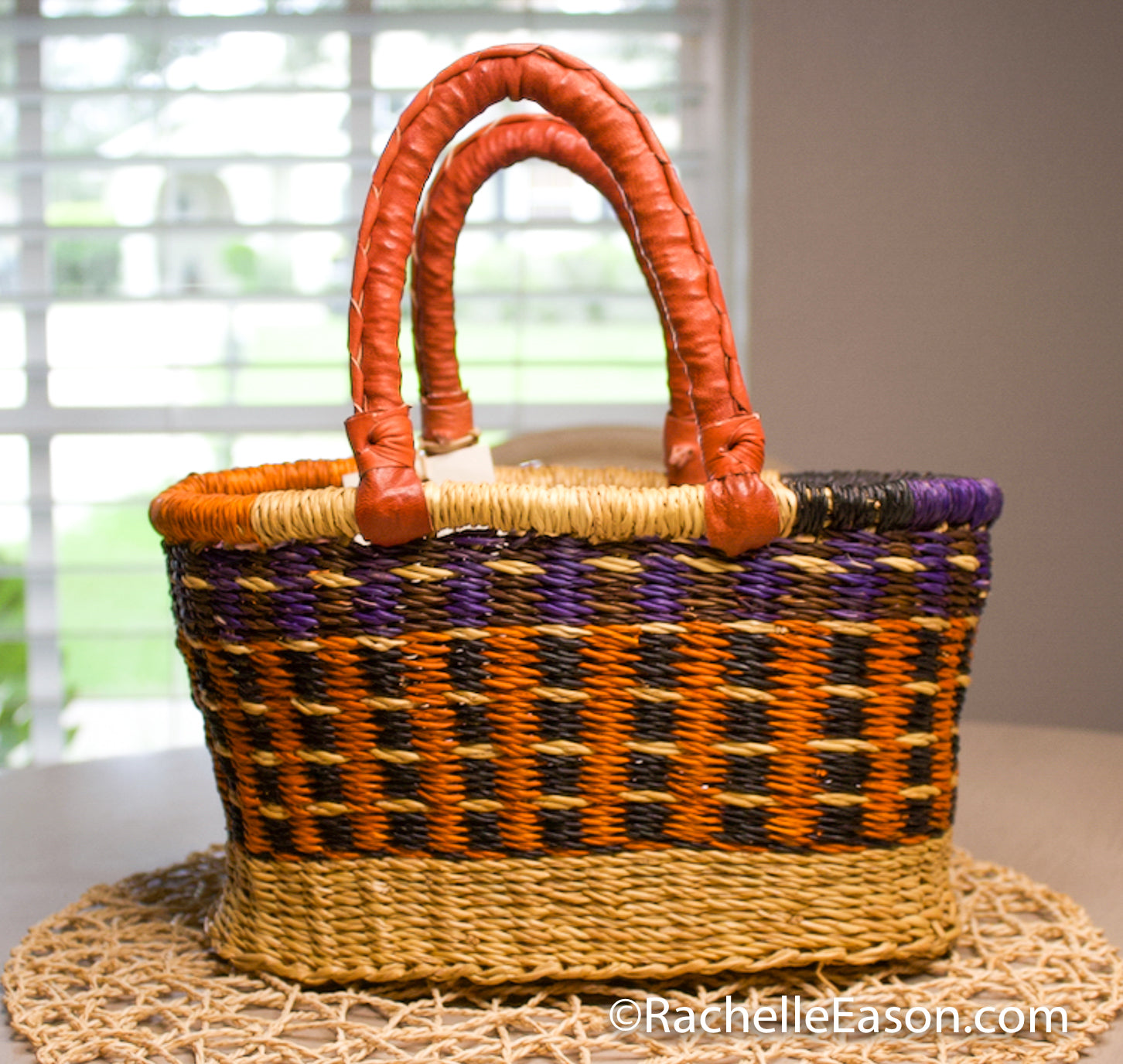 Bolga Basket - Purple/Orange  - Mini Oval Shopper - Art Supply Tote