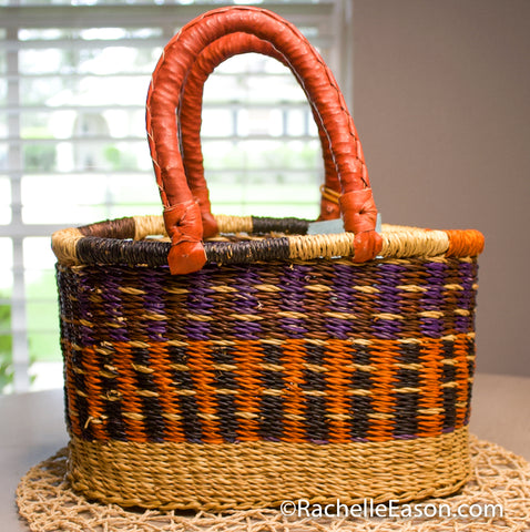 Bolga Basket - Purple/Orange/Black  - Mini Oval Shopper - Art Supply Tote