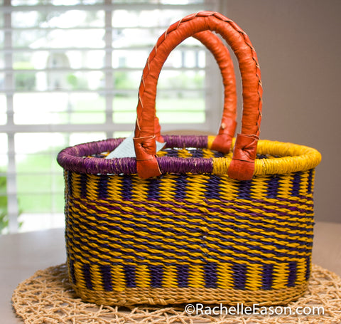 Bolga Basket - Purple/Yellow - Mini Oval Shopper - Art Supply Tote