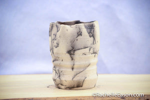 "Raku Pot Horse Hair ~ ""Study 3D"" ~ Vase, Planter, Sculpture - Ceramic Pottery"