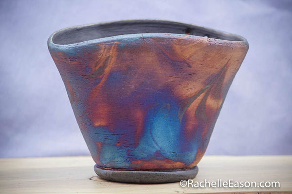 "Raku Pot ~ ""Soul Wave"" ~ Vase, Planter, Sculpture - Ceramic Pottery"