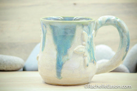 Snowflake (Porcelain) 16 oz Mug Tea Cup - Ceramic Pottery - Glazed Porcelain