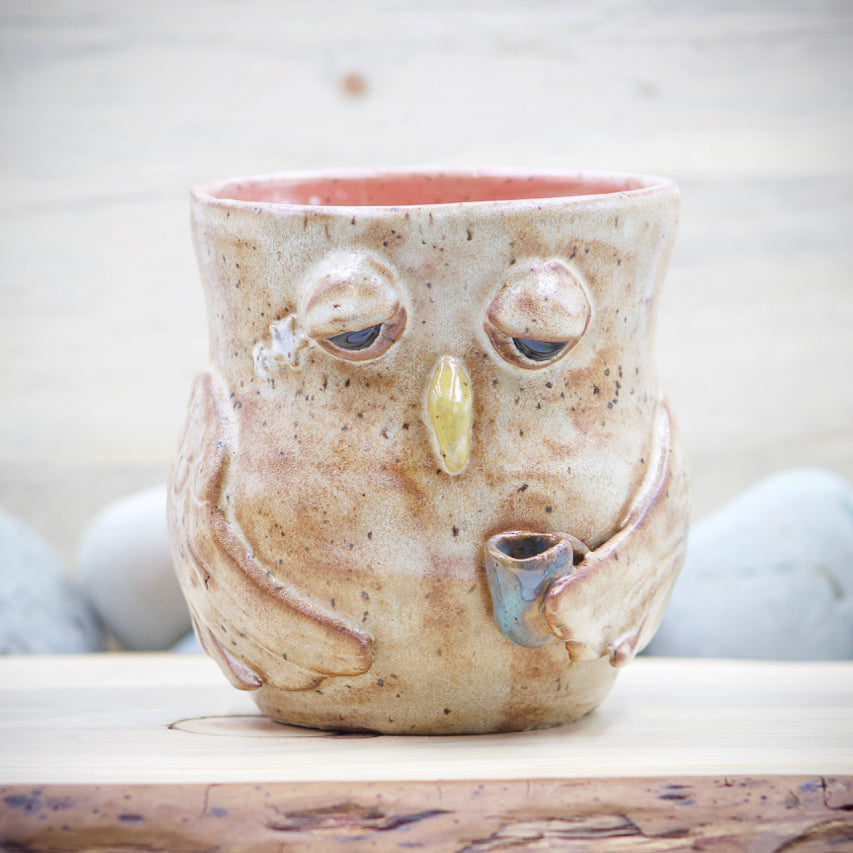 """Latte"" Owl Flower Vase Planter Pot - Ceramic Pottery - Glazed Stoneware"