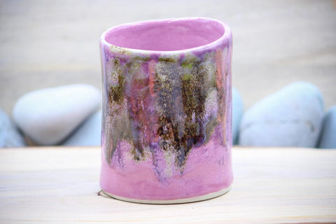 Pink Enchantment Porcelain 10 oz Squishy Cup ~ Tumbler Mug Tea Cup - Ceramic Pottery - Glazed Porcelain