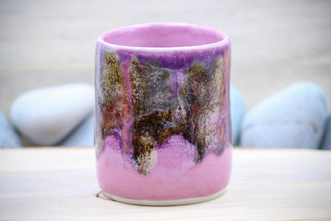 Pink Enchantment Porcelain 10 oz Squishy Cup (#2) ~ Tumbler Mug Tea Cup - Ceramic Pottery - Glazed Porcelain