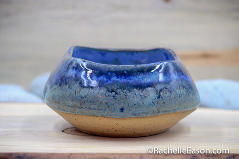 Denim and Dimpled Square Bowl - Ceramic Pottery - Glazed Stoneware