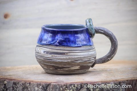 Midnight Waves (Deep Earth) 20 oz Mug Tea Cup - Ceramic Pottery - Glazed Stoneware