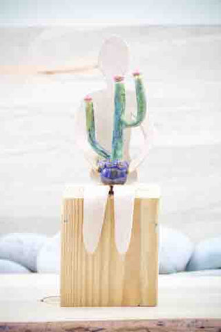 "Friends Collection - ""Cactus Friend"" - Large Friend Shelf Sitter -  Sculpture - Ceramic Pottery -Glazed Stoneware"