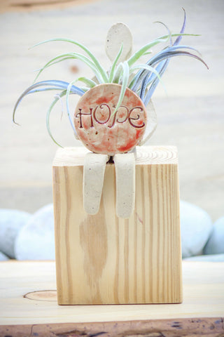 "Friends Collection - ""HOPE Friend"" (red) - Small Friend Shelf Sitter -  Sculpture - Ceramic Pottery -Glazed Stoneware"