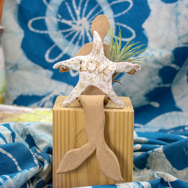 "MERMAID Collection - ""LOVE Starfish Mermaid"" -  Small Mermaid Shelf Sitter -  Sculpture - Ceramic Pottery -Glazed Stoneware"