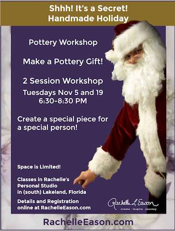 Nov 5 & 19 Handmade Holiday ~ Pottery Gift 2 Session Workshop